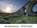 Historic arch bridge - Craigmore Viaduct. The highest railway bridge in Ireland. HDR Technique - stock photo