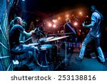 band performs on stage  rock... | Shutterstock . vector #253138816