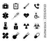 set of black flat icons  ... | Shutterstock .eps vector #253142410
