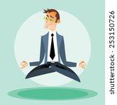 Businessman Man Practices Yoga...