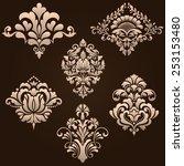 vector set of damask ornamental ...   Shutterstock .eps vector #253153480