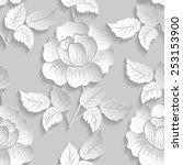 vector flower seamless pattern... | Shutterstock .eps vector #253153900