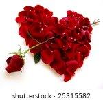 Rose Petal Red Heart On An...