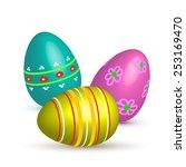 easter painted eggs.vector... | Shutterstock .eps vector #253169470