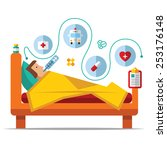 sick man is in bed and taking... | Shutterstock .eps vector #253176148