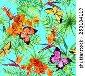bright butterflies  exotic... | Shutterstock . vector #253184119