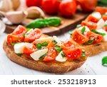 bruschetta with cherry tomato... | Shutterstock . vector #253218913