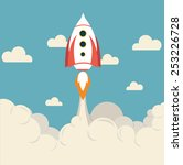 space rocket flying top sky... | Shutterstock .eps vector #253226728