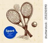 hand drawn sport object. sketch ... | Shutterstock .eps vector #253250590