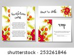 set of invitations with floral... | Shutterstock . vector #253261846