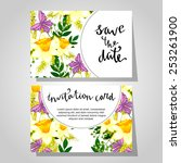 set of invitations with floral... | Shutterstock . vector #253261900