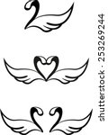 Set Of Abstract Graphic Swans