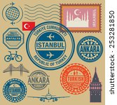 travel stamps set  vector... | Shutterstock .eps vector #253281850
