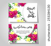 set of invitations with floral... | Shutterstock .eps vector #253284130