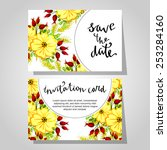 set of invitations with floral... | Shutterstock .eps vector #253284160