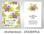 set of invitations with floral...   Shutterstock . vector #253284916