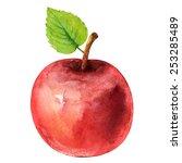 Watercolor Red Apple Fruit...