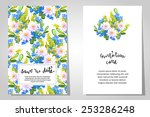 set of invitations with floral... | Shutterstock . vector #253286248