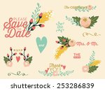 wedding set with flowers.... | Shutterstock .eps vector #253286839