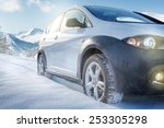 Suv Car On Snow Covered...