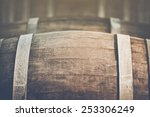 wine barrel with vintage... | Shutterstock . vector #253306249