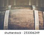 wine barrel with vintage... | Shutterstock . vector #253306249