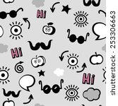 grey seamless hippie pattern   Shutterstock .eps vector #253306663