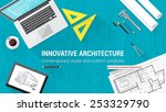 architect desktop with tools... | Shutterstock .eps vector #253329790