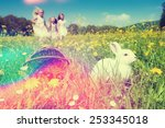 Children On An Easter Egg Hunt...