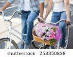 cute couple on a bike ride on a ... | Shutterstock . vector #253350838