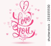 i love you card with heart... | Shutterstock .eps vector #253355530