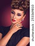 luxury portrait of beautiful...   Shutterstock . vector #253369810