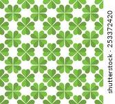repeating vector green clovers...   Shutterstock .eps vector #253372420