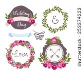 wedding collection with hand... | Shutterstock .eps vector #253374223