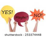 hands holding a red yellow and... | Shutterstock . vector #253374448