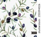 vector  watercolor  olive ... | Shutterstock .eps vector #253394026