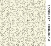 doodle style seamless science ... | Shutterstock .eps vector #253408078