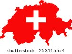 map and flag of switzerland | Shutterstock .eps vector #253415554