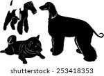 Set Of Dogs Silhouette Isolated ...