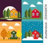 village house vector flat set   Shutterstock .eps vector #253420474