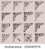 set of ornamental corners in... | Shutterstock .eps vector #253449574