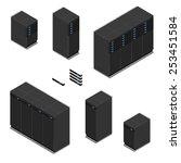 isometric black servers. modern ...   Shutterstock .eps vector #253451584