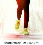 runner feet on road  outdoors | Shutterstock . vector #253464874