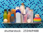 bath accessories on blue... | Shutterstock . vector #253469488