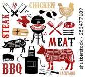 barbecue pattern with meaty... | Shutterstock .eps vector #253477189