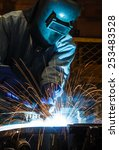 worker with protective mask... | Shutterstock . vector #253483528