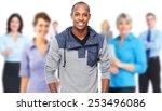 handsome smiling black man over ... | Shutterstock . vector #253496086