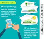 electric car infographic vector ... | Shutterstock .eps vector #253500940