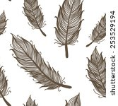 seamless pattern with feathers | Shutterstock . vector #253529194