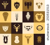 African Animals Icons With Fla...